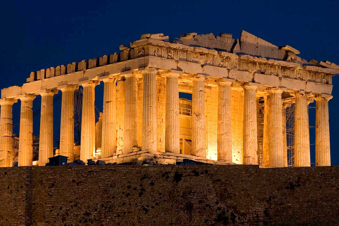 Acropolis of Athens Greece At Night Photo